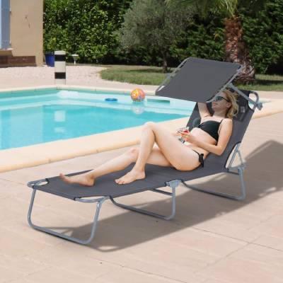 silla con parasol playa plegable